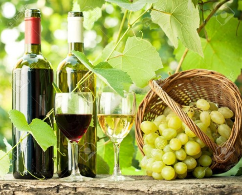 11971564-red-and-white-wine-bottles-two-glasses-and-bunch-of-grapes-on-stock-photo